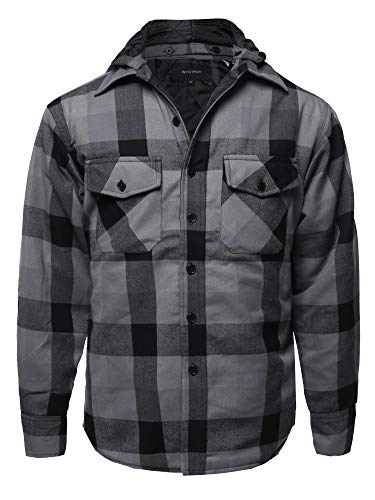 Casual Detachable Hoodie Plaid Flannel Quilted Button Jacket Black Grey 2XL - Hoodie Mens Black Motorcycle