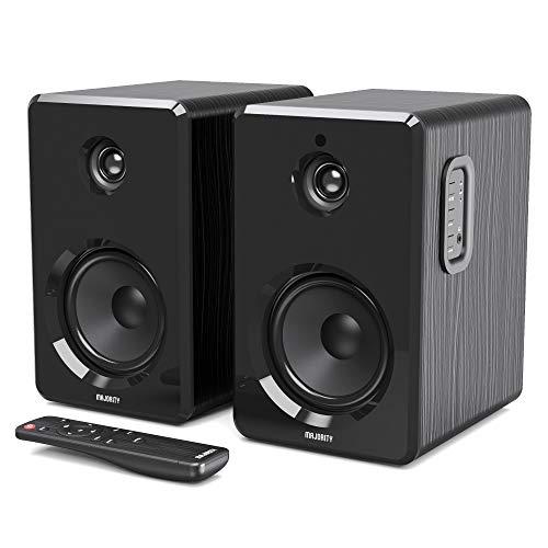 Majority D40 Actieve boekenplankspeakers, stereo hifi met versterker en meerdere audio- en geluidopties, Bluetooth…