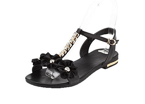 Sandals Heels Solid VogueZone009 Open Women Low Soft Buckle Material Black Toe z6OnqA