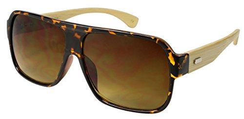 Edge I-Wear Genuine Bamboo Temple Flat Top Oversized Aviators Style Sunglasses by