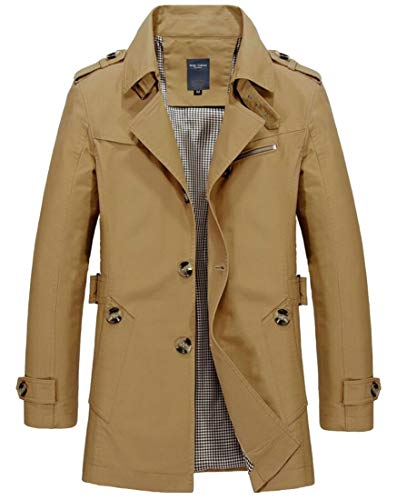 WSPLYSPJY Men's Windbreaker Notch Lapel Single Breasted Trench Coat Jacket 4 2XL