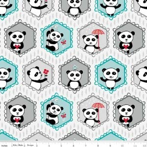 Panda Love~Pandas in the Window-White, Cotton Fabric by Riley Blake