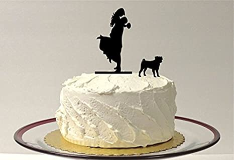 Amazon Com Silhouette Wedding Cake Topper Dog Pug