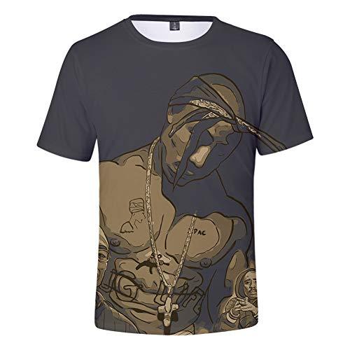 (LJNJN Men's Print Tupac 2pac T-Shirt Short Sleeve O-Neck Tshirt Hip Hop Swag Harajuku Streetwear T Shirt,XL)