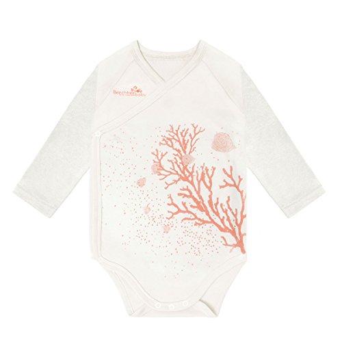 Modal Long Sleeved White Coral Baby Bodysuit,Beechtree Baby Unisex Baby Boys Girls Original Baby Kimono for Newborn Infant Toddler (3~6 months)