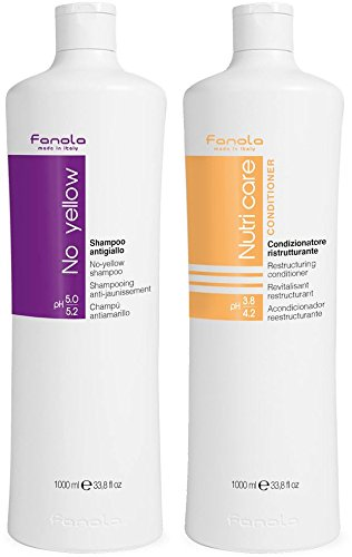 Fanola No Yellow Shampoo & Nutri Care Conditioner, 1000 ml (Purple Shampoo And Conditioner)