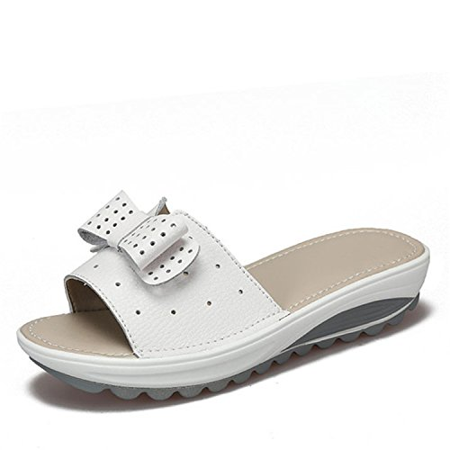 Flats Baolustre Wedges Leather White Flip New Women Women's Flops Sandals Platform Cow 1Y1wZ