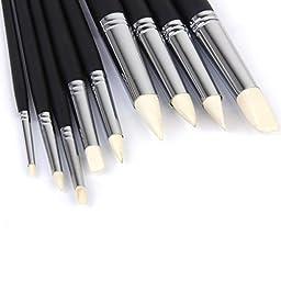 Pixnor 9pcs Soft Clay Color Shaper Tips Sculpting Painting Tools (Black)