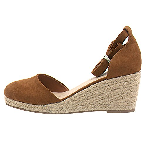 Damen rismart Knöchelriemen Keil Sommer Tan Shoes Sandals Espadrilles Damen PxxTBA