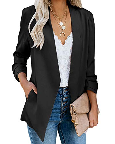 (Ofenbuy Womens Casual Blazer Ruched 3/4 Sleeve Open Front Relax Fit Office Lightweight Cardigan Jacket Blazers Black)