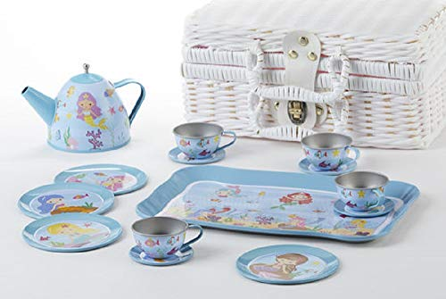 Delton 15-Piece Tin Mermaid Tea Set in Basket