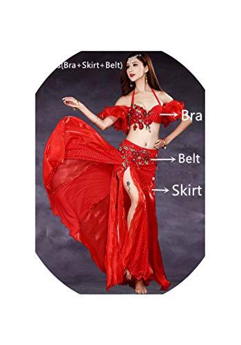Belly Dance Costume Oriental Bellydance Skirt Stage Bra Belt Skirt Bellydancing Wear,Black,L -