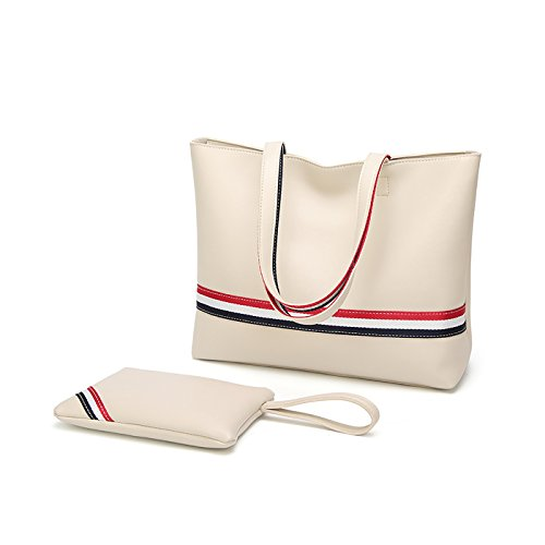 Tisdaini Dama bolso mano moda casual Cuero PU Suave hombro bolsa messenger bag bolso grande Blanco