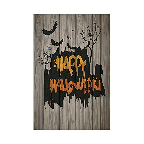 Polyester Garden Flag Outdoor Flag House Flag Banner,Halloween Decorations,Happy Graffiti Style Lettering on Rustic Wooden Fence Scary Evil Artwork,Multi,for Wedding Anniversary Home Outdoor Garden De ()