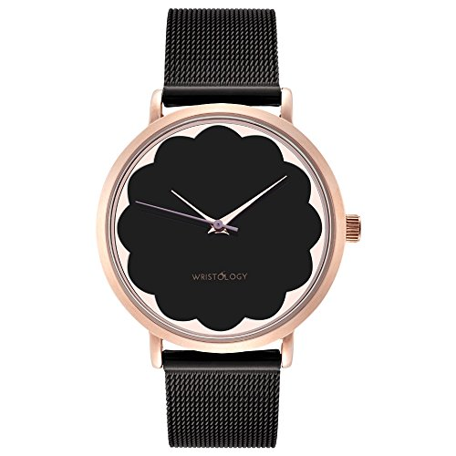 Face Scalloped (WRISTOLOGY Olivia Womens Scalloped Rose Gold Watch Black Face Metal Mesh Strap)