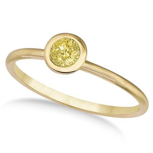 Fancy Yellow Canary Diamond Bezel-Set Solitaire Ring 14k Y. Gold (0.50ct) - Canary Bezel