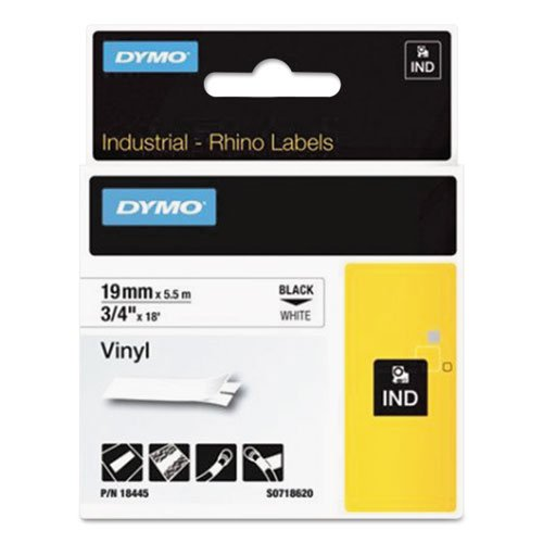 DYMO 18445 Rhino Permanent Vinyl Industrial Label Tape, 3/4