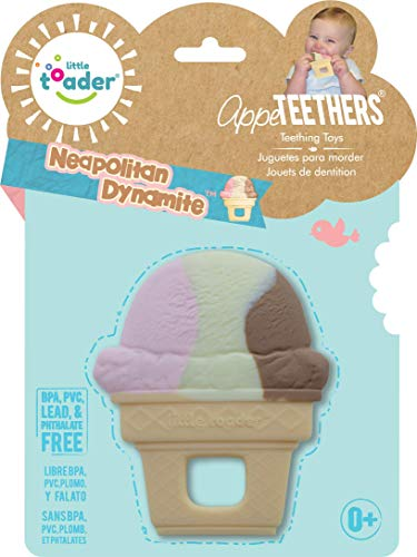 Little Toader Teething Toys - Soft Silicone Desserts Sweets and Candy Shaped BPA Free Teethers (Neapolitan Ice Cream Cone)