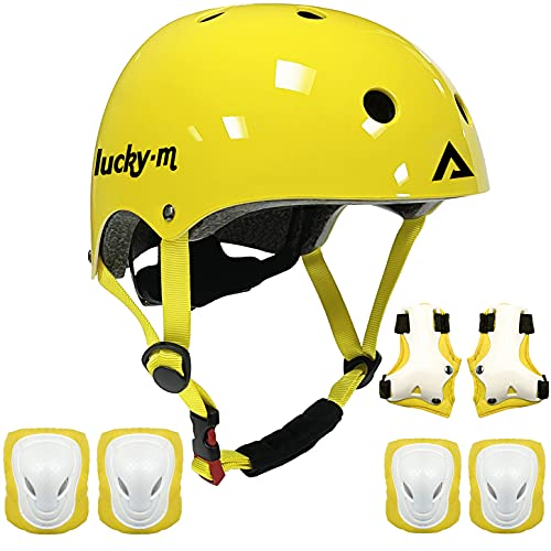 Lucky-M Kids Beschermende Gear Set Jongens Meisjes Verstelbare Maat Helm met Knie Pads Elleboog Pads Polsbeschermers…