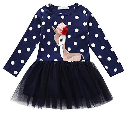 Little Kids Baby Girl Dresses Plaid Sika Deer Skirt Party Princess Formal Outfit Clothes (Black, 3-4 Years) (Designs Sika)