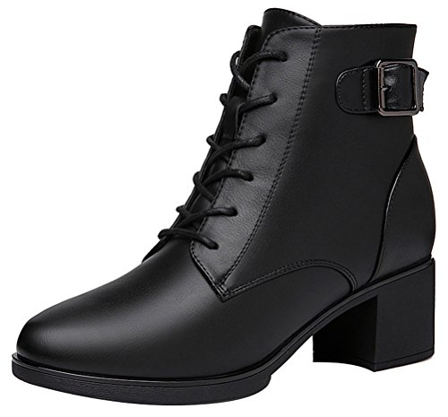 Women's Round Toe Flat Brogue Martin Boots London Ankle Boots Black - 3
