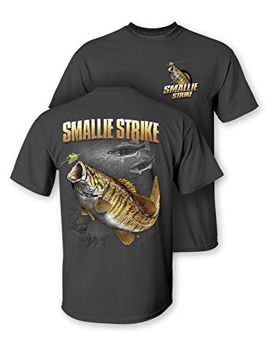 Follow the Action Smallmouth Bass Smallie Strike Two-Sided Short Sleeve Fishing T-Shirt (Medium) Charcoal