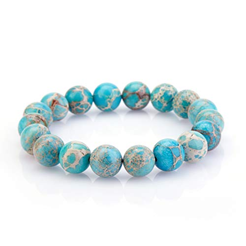 Agate Semi Precious - Mojo Handmade 10mm Round Natural Semi PreciousGemstone Beaded Stretch Solid Color Bracelets (Bright Blue Serpentine)
