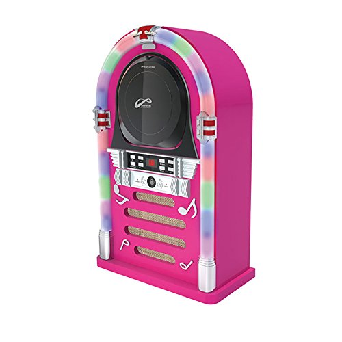 Bluetooth/CD Jukebox with LED Neon Lights - Pink (Pink Bluetooth Cd Player)