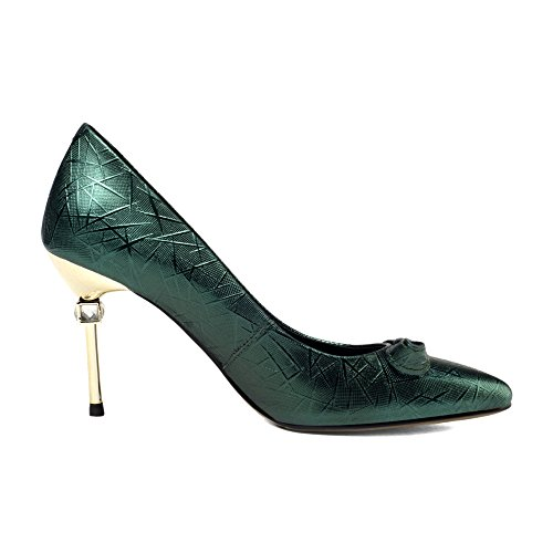 Women's Red High-heeled Shoes Pointed Shallow Bow Pumps Stiletto Dress Wedding Party Shoes Green fNWPfWj1