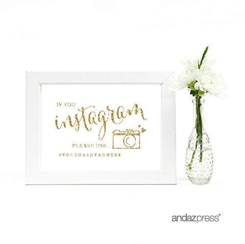 Andaz Press Personalized Wedding Framed Party Signs, Gold Glitter Print, 5x7-inch, If You Instagram Please Use # Your Hashtag Here, 1-Pack, Not Real Glitter, Includes Frame, Custom