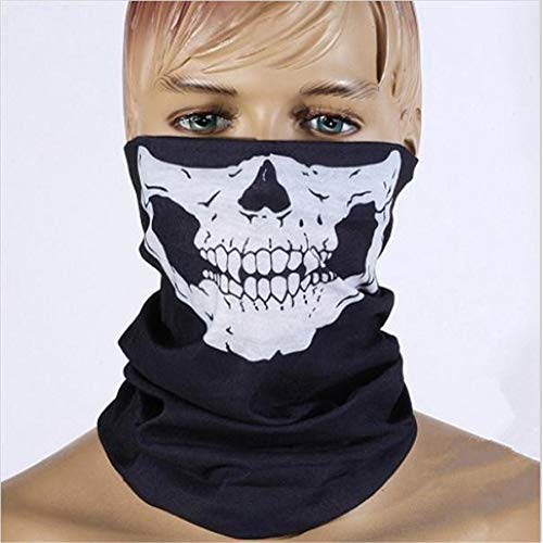 WEIZHUANGZHE Motorcycle Face Mask 2019 Halloween Bicycle Ski Skull Half Face Mask Ghost Scarf Multi Use Neck Warmer COD,Black