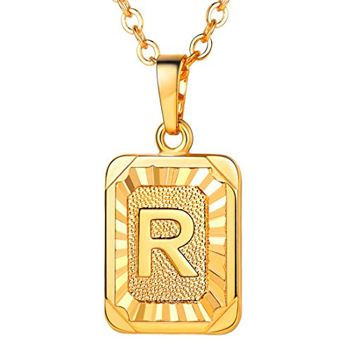 Punk Letter Necklace Platinum Plated 22 Inch Chain Square Pendant Capital Monogram Jewelry Royal Necklaces (R)