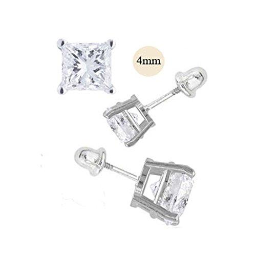 - 14K White Gold 4mm Princess Cut Simulated Diamond Stud Earring Set on Prong Setting, Screw Back Post