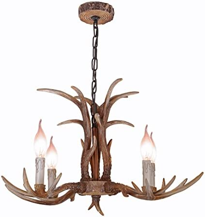 YHF Resin Antler Chandeliers 4 Light 27.5 Diameter 4 Feet Matching Chain Antique