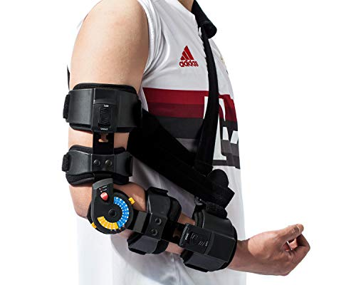 Orthomen Hinged ROM Elbow Brace, Adjustable Post OP Elbow Brace with Sling, Stabilizer Splint Arm Injury Recovery Support After Surgery, Mam & Women (Right)