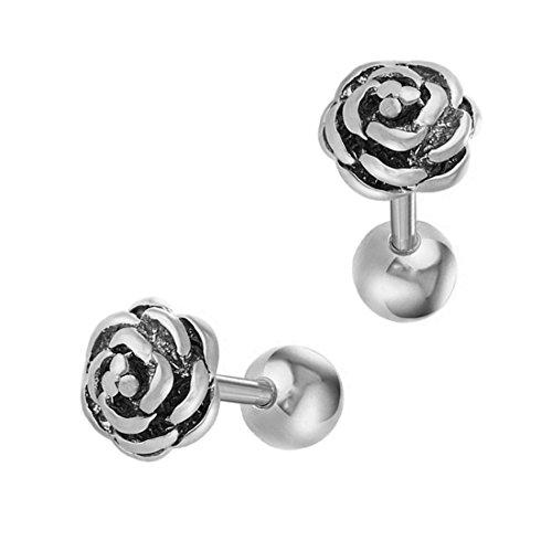 Stainless Steel 7mm Ear Piercing Earrings Studs (Pink) - 3