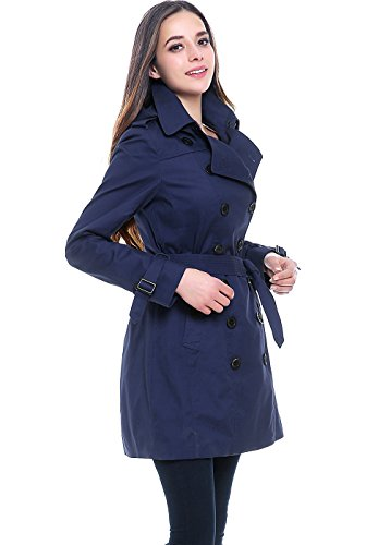 dc821a42fe BGSD Women's Leah Hooded Mid Length Trench Coat - Navy L - Buy ...