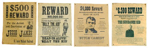 Jesse James, Billy the Kid, Butch Cassidy & The Sundance Kid Wanted Posters Set Billy The Kid Wanted Poster