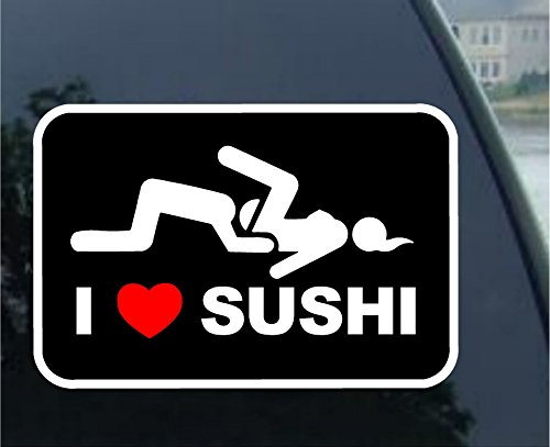I Love Sushi Adult Funny car bumper sticker window decal (3