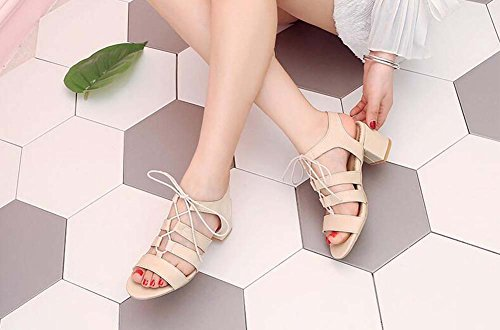 Rough Sandals Korean Summer MHX Women's Open shoes Strap With Beige Female toed Casual Version qqS6g