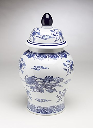 white and blue ginger jar 18 - 6