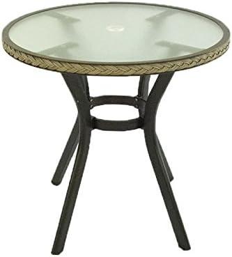 Mesa de jardín Redonda de 72 cm de diámetro y 72 cm de Altura | Estructura de Aluminio Color Negro y Trenzado en Fibra sintética Color Natural | Portes ...