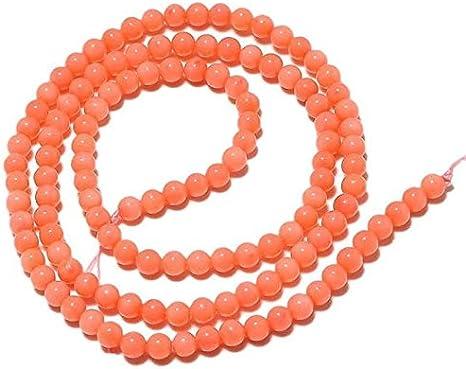 LOVEKUSH Cuentas raras 50 hebras al por mayor cuentas de coral naranja, cuentas redondas de coral, perlas redondas de 3,5 mm, collar de coral rosa, 15 pulgadas StrandCode-RM720