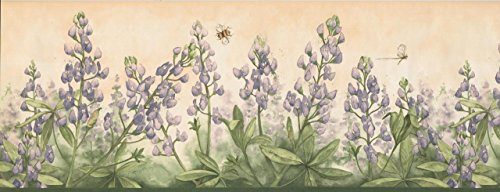 Purple Flowers Bumble Bee Dragonfly Merigold DB3804B Wallpaper Border
