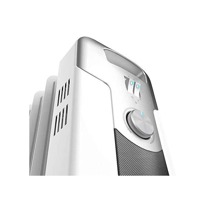 41n%2Bzv 0P9L Radiador de aceite de 9 módulos con una potencia de 2000 w; incluye un sistema para enrollar y almacenar el cable y ahorrarte espacio; indicador luminoso de encendido Termostato regulable con tres niveles de potencia para optimizar el consumo de energía: eco (800 w), medio (1200 w) y máximo (2000 w) Sistema easygo para un fácil transporte; cuenta con un mango ergonómico y ruedas multidireccionales para desplazarlo cómodamente