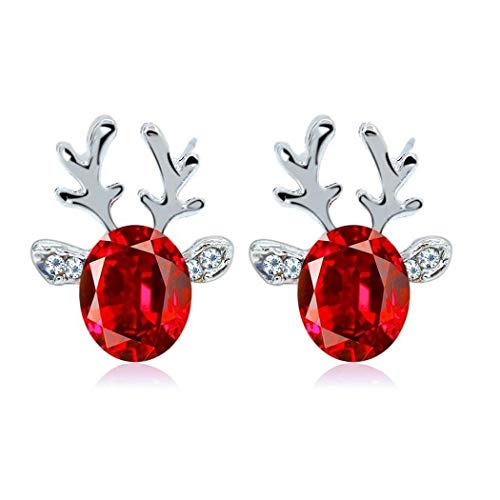 Hello22 Antlers Earrings, Rhinestone Antlers Earrings For Women Girls, Push Back Pierced Red Ear Studs For Xmas