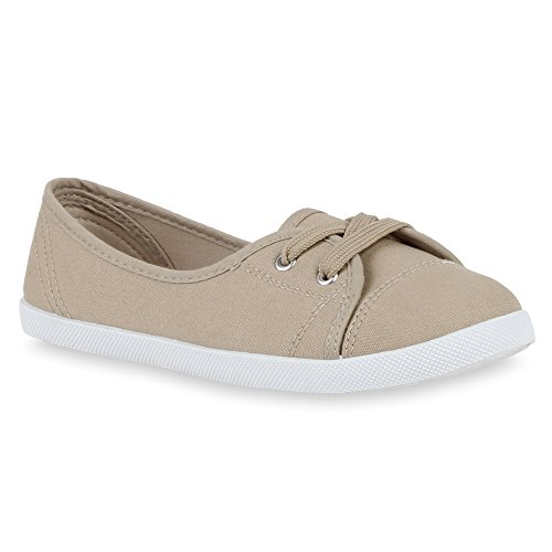 Klassische Damen Ballerinas Sportliche Stoffschuhe Slipper Flats Flats Flats Sneakers Slip-ons viele Farben Flandell Khaki 10e1a4