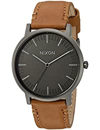 Porter Leather A10582494-00. Gunmetal Grey and Tan Leather Men's Watch (20-18mm Brown Leather Band and Gunmetal 40mm Watch Face)
