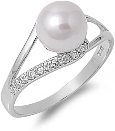 Simulated Pearl of My Eyes Cubic Zirconia Ring Sterling Silver 925