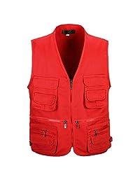 MagiDeal Men's Multi Pocket Zip Vest Hunting Fly Fishing Photography Jacket Travel Outdoor Casual Waistcoat XL/XXL/XXXL - 4 Colors